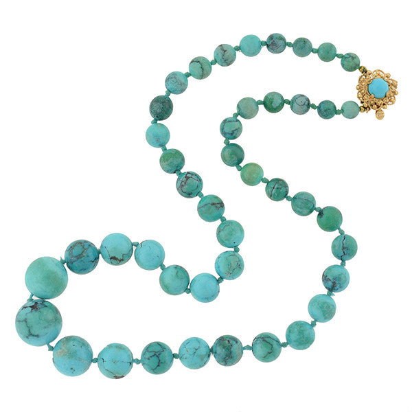 Vintage 14kt Turquoise Bead Necklace 19.5""