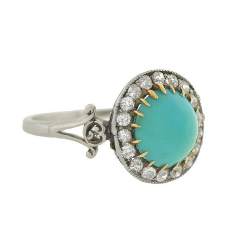 Edwardian Platinum Turquoise Cabochon & Diamond Ring