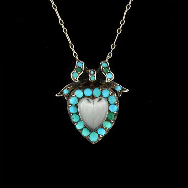 Victorian Silver Carved Moonstone & Turquoise Heart Necklace