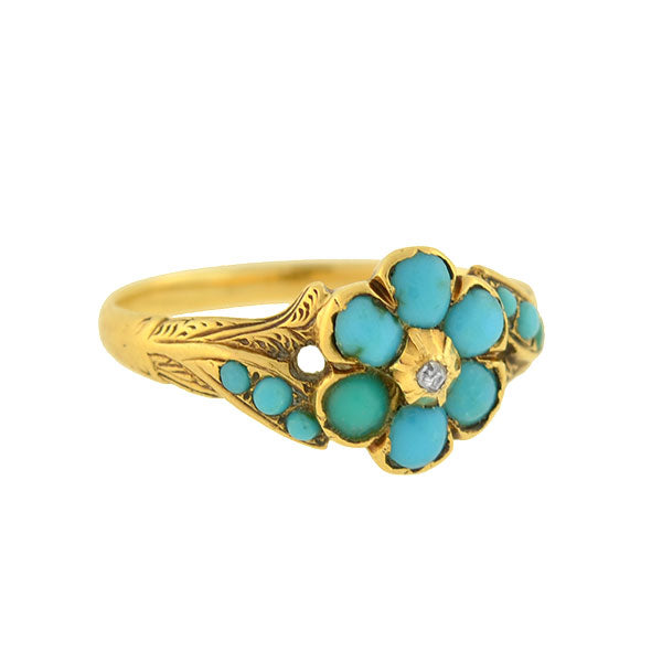Victorian 15kt Forget-Me-Not Turquoise Diamond Cluster Ring