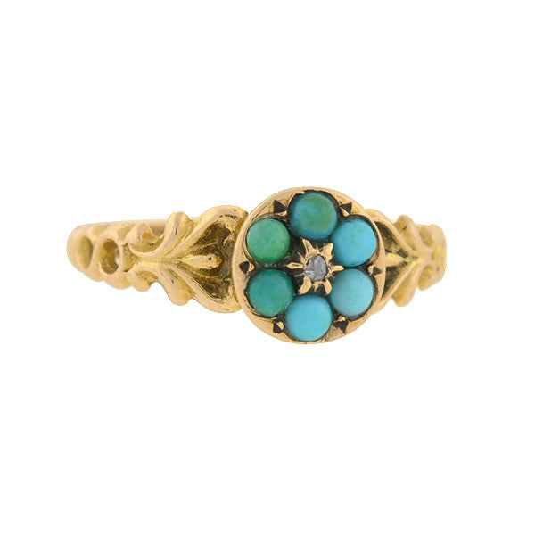 Victorian 15kt Forget-Me-Not Turquoise Cluster Ring