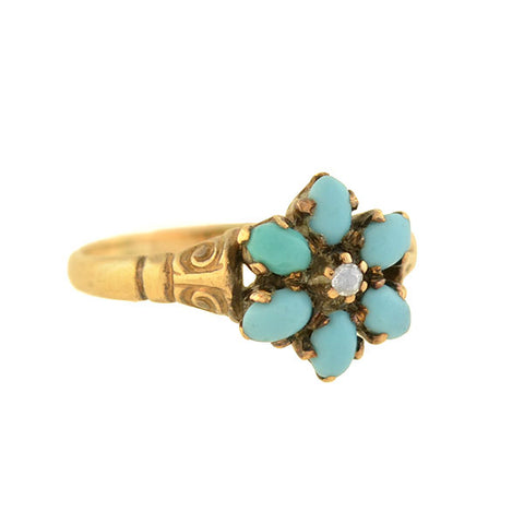 Victorian 14kt Forget-Me-Not Turquoise + Diamond Cluster Ring