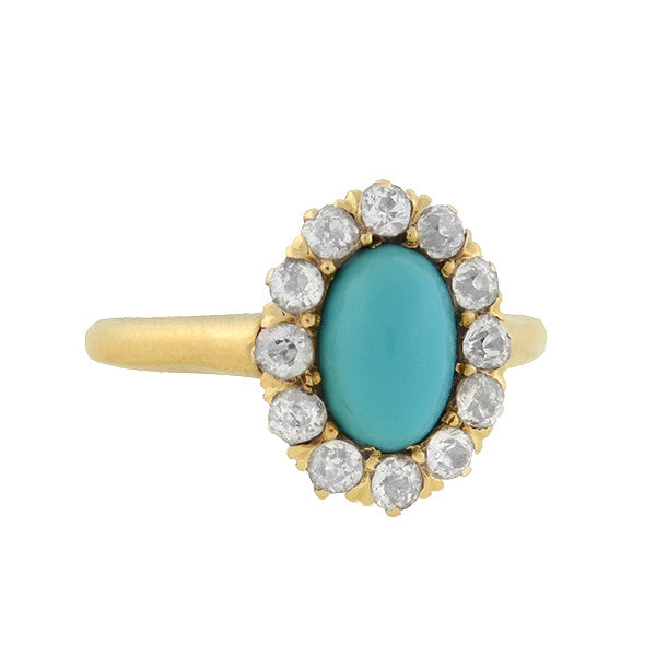 Victorian 14kt Turquoise & Mine Cut Diamond Ring .40ctw