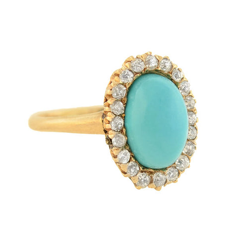 Late Victorian 14kt Persian Turquoise Diamond Cluster Ring