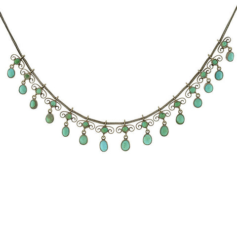 Victorian Sterling Gilt & Natural Turquoise Festoon Necklace