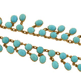 Victorian 15kt Turquoise Festoon Link Necklace