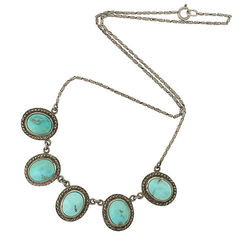 Late Art Deco Sterling Turquoise Marcasite Necklace