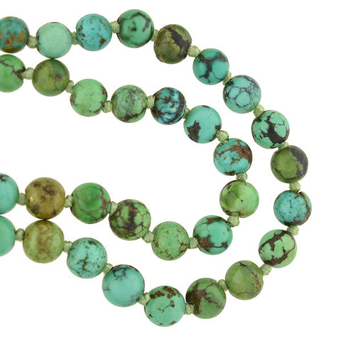 Vintage Turquoise Matrix Graduating Bead Necklace 27.25""