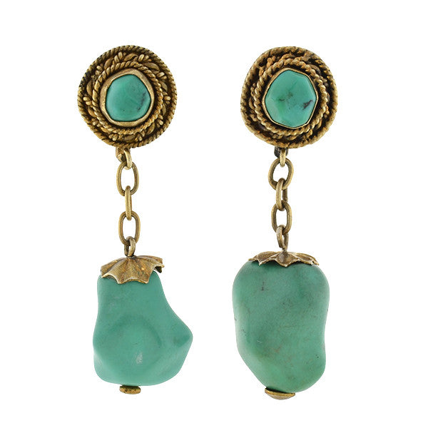 Vintage Chinese Silver Gilt & Turquoise Nugget Earrings