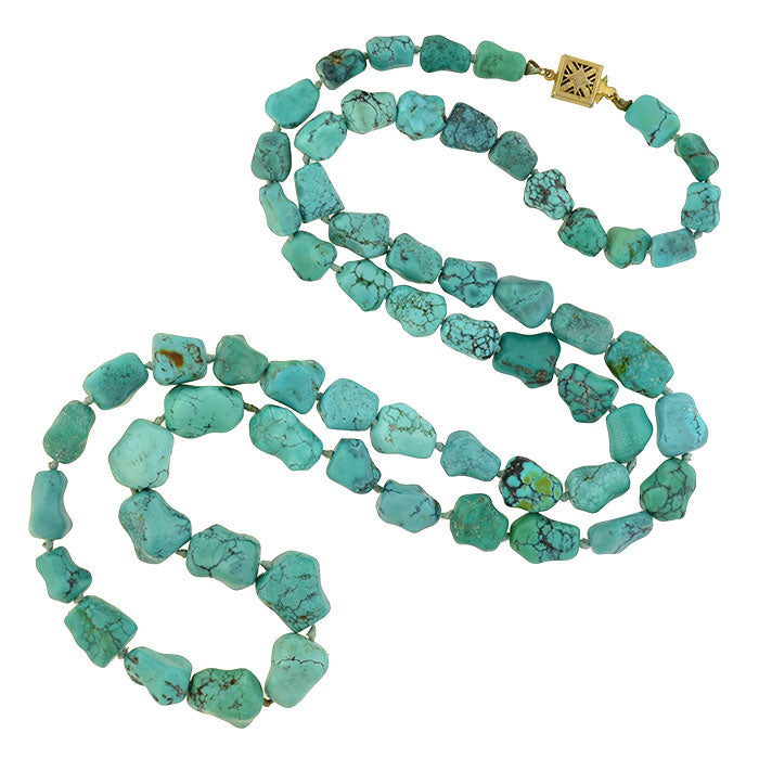 "Vintage Chinese Turquoise ""Nugget"" Bead Necklace"