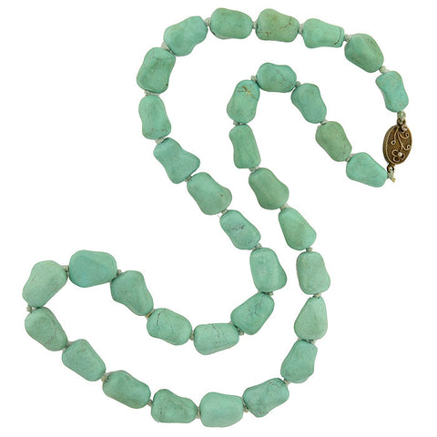 Vintage Turquoise Nugget Bead Necklace 25""