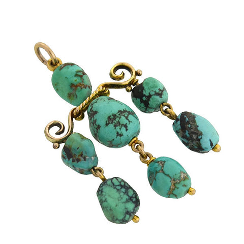 Late Victorian 14kt Turquoise Chandelier Pendant
