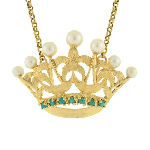 Victorian 14kt Pearl & Turquoise Crown Necklace