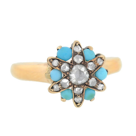 Victorian 14kt Turquoise Rose Cut Diamond Star Ring