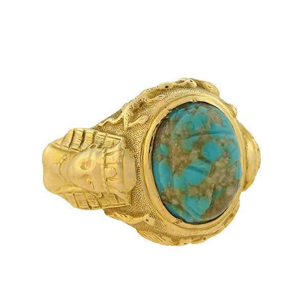 Art Deco 14kt Turquoise Matrix Scarab Ring w/ Pharaoh Motif