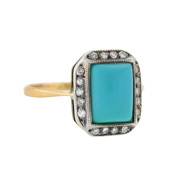 Late Victorian 14kt/Silver Turquoise & Diamond Ring
