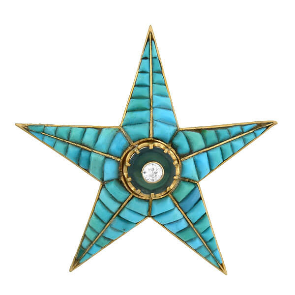 Victorian 18kt Tourmaline, Diamond, Calibrated Turquoise Starburst Pin/Pendant