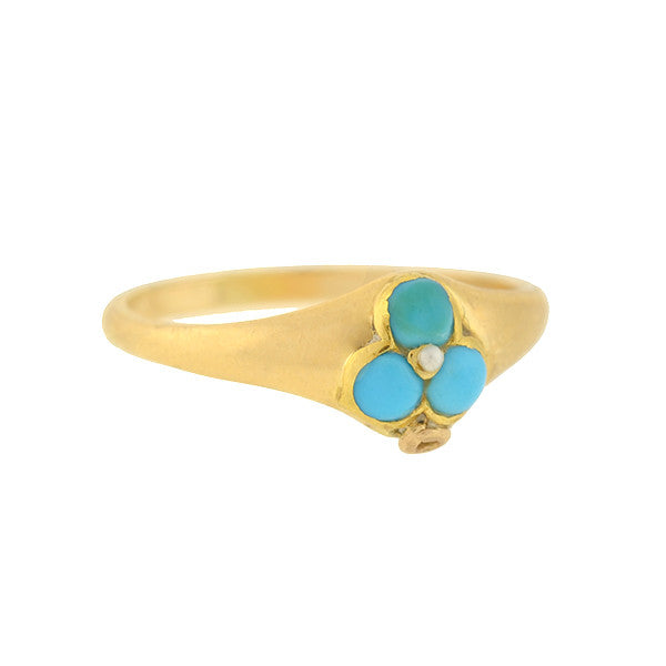 Victorian 14kt Turquoise & Pearl Trefoil Ring
