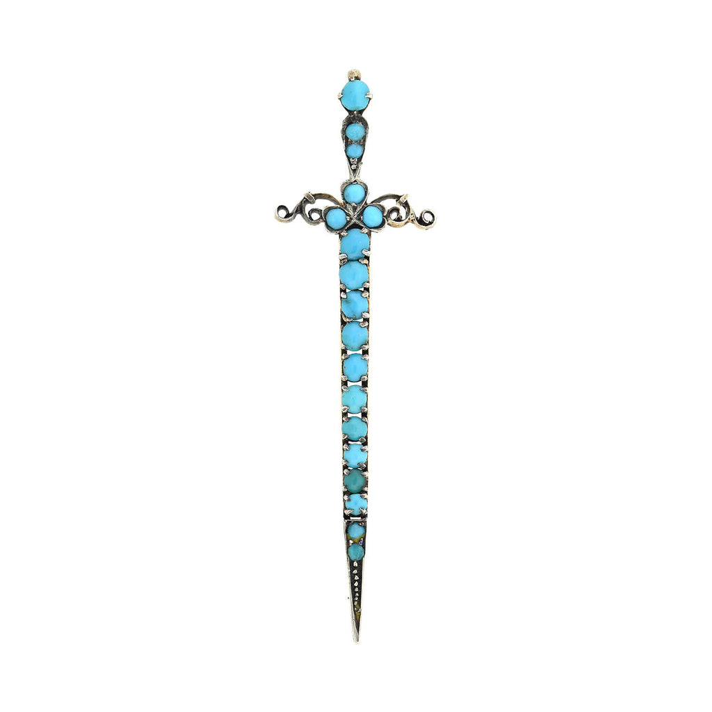 Late Victorian German .900 Silver Turquoise Sword Pendant