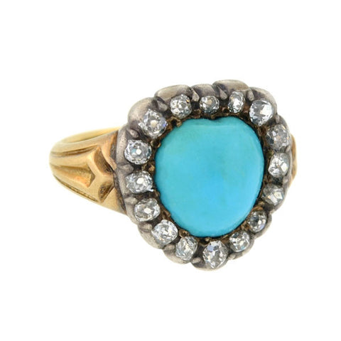 Victorian 15kt/Sterling Persian Turquoise Diamond Heart Ring