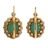 Victorian 18kt Cabochon Turquoise Diamond Earrings