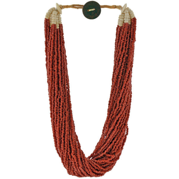 Vintage African Coral & Bone Beads Multi Strand Necklace