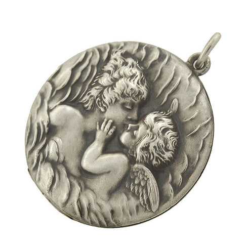 "UNGER BROS. Art Nouveau Sterling Silver ""Love's Dream"" Repousse Locket"