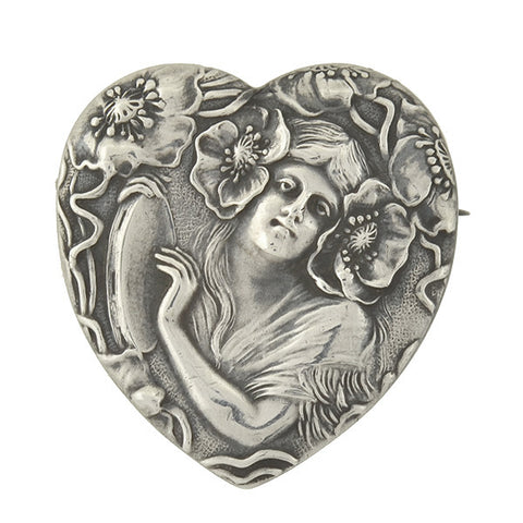 UNGER BROS. Art Nouveau Sterling Repousse Heart Locket Pin
