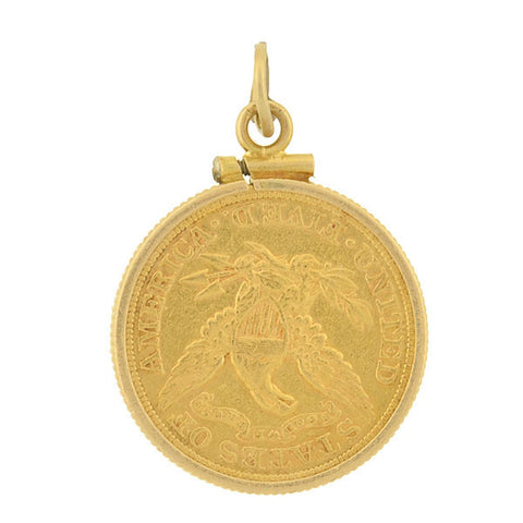 Victorian 1880 Liberty Head Half Eagle Gold Coin Pendant