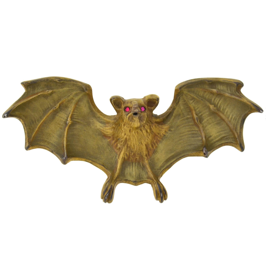UNGER BROS. Rare Art Nouveau Large Gold-Plated Sterling Enameled Bat Pin
