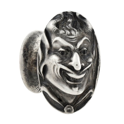 UNGER BROS. Art Nouveau Sterling Repousse Devil Face Figural Cufflinks