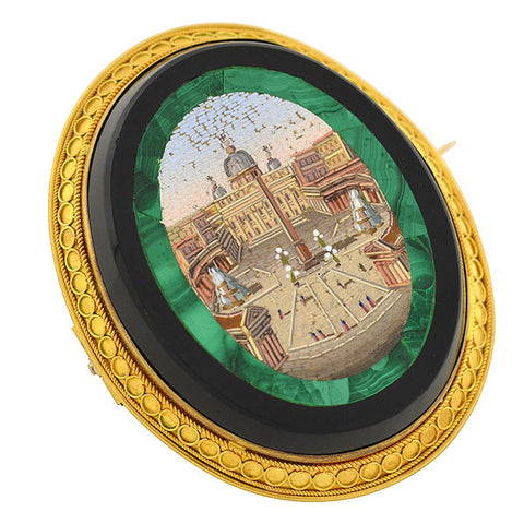 Victorian Large 18kt Vatican City Micro Mosaic Pin/Pendant