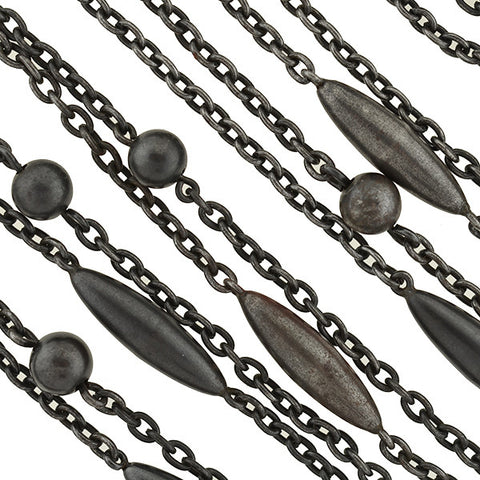 Early Victorian Gunmetal Ball & Bullet Link Chain 63""