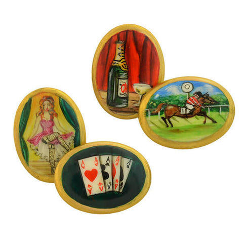 "Estate English 15kt ""Four Vices"" Hand Painted Enamel Cufflinks"