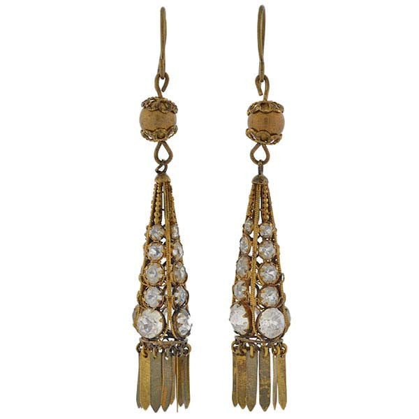 Victorian Gold Filled French Paste Fringe Earrings