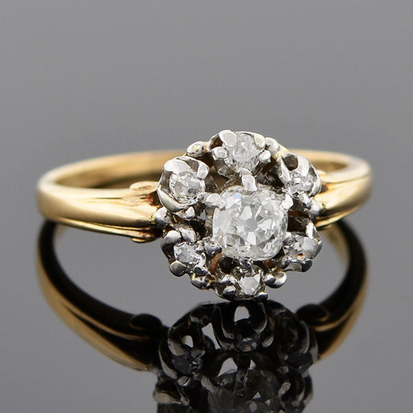 Edwardian Platinum and 14kt Gold Diamond Cluster Ring