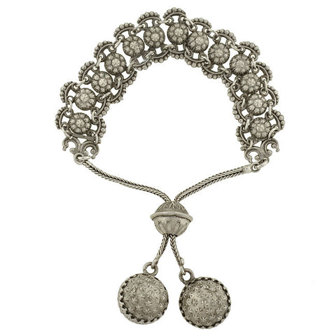 Victorian Style Adjustable Silver Bracelet with Ball Motif