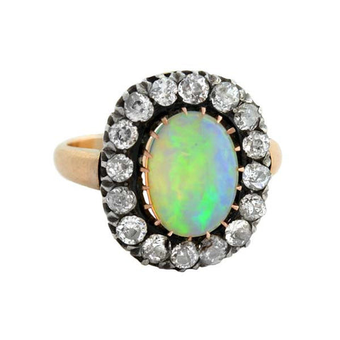 Victorian Sterling 18kt Opal & Diamond Ring