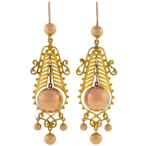 Victorian Dramatic 15kt Rose & Yellow Gold Earrings