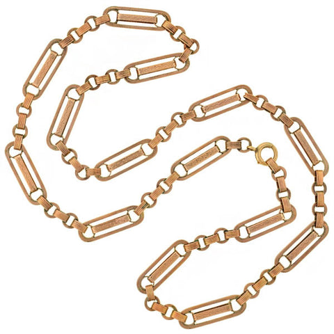 Victorian 12kt Rose Gold Etched Link Chain 25""