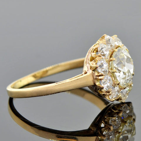 Victorian 14kt Diamond Cluster Ring 2.37ctw