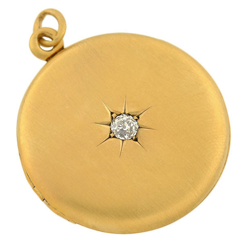 Victorian 14kt Starburst Mine Cut Diamond Locket