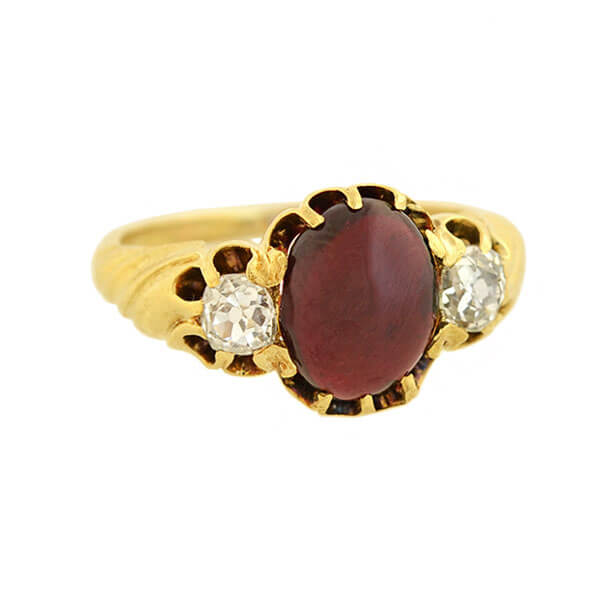 Victorian 15kt Cabochon Garnet + Diamond Ring 0.80ct center