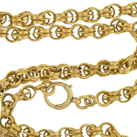 Victorian 14kt Caged Link Chain Necklace 21""