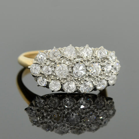 Edwardian 14kt/Platinum Mine Cut Diamond Cluster Ring 1.25ctw