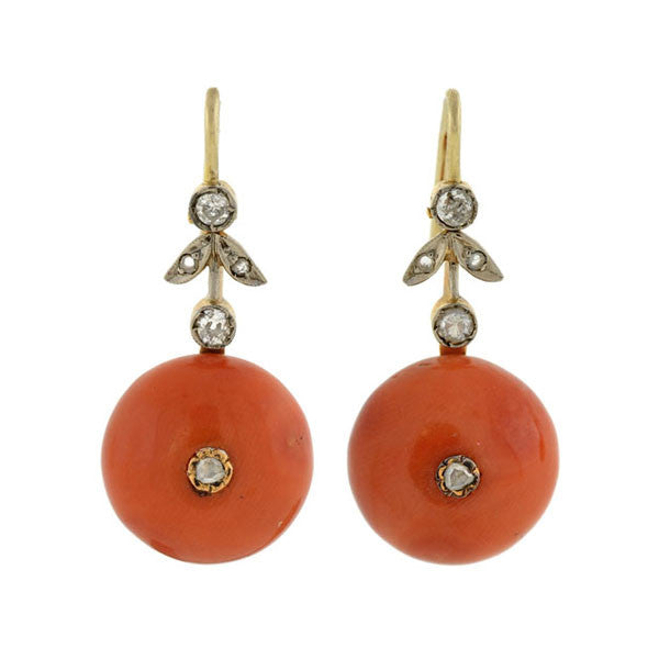 Victorian 18kt Natural Coral Rose Cut Diamond Earrings