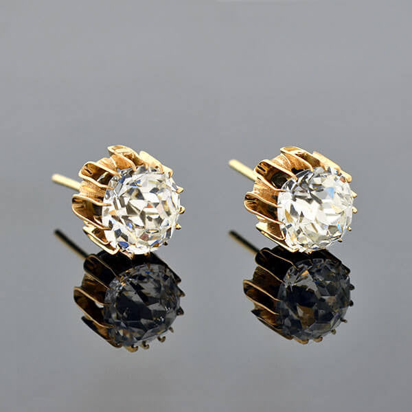 Victorian 14kt French Paste Cushion Mine Cut Stud Earrings