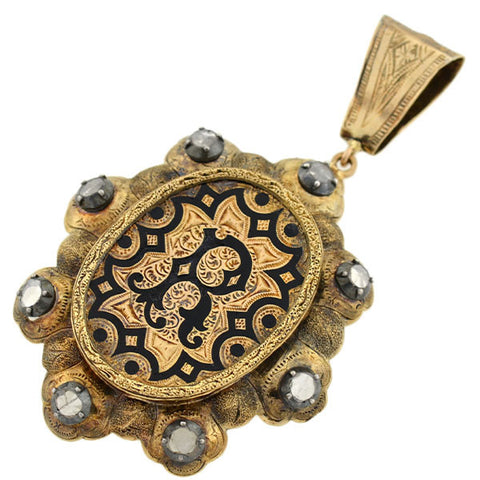 Victorian 15kt Etched & Enameled Pendant w/ Diamonds