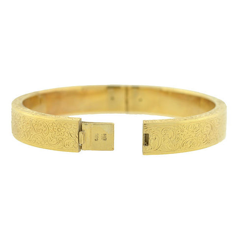 Art Deco 14kt Etched Gold Hinged Bangle Bracelet
