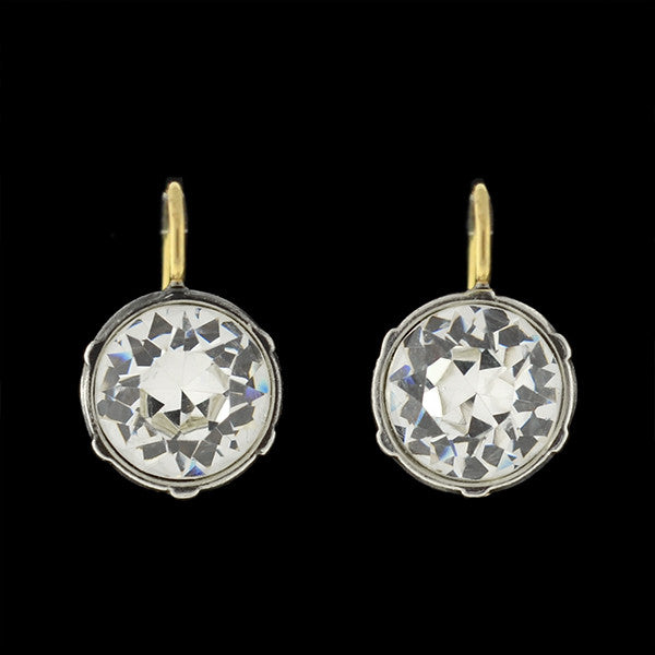 Victorian 14kt/Sterling & Round French Paste Earrings